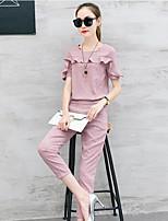 Damen Solide Freizeit Normal Shirt Hose Anzüge,Rundhalsausschnitt Sommer Kurzarm