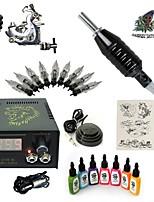 стартовые комплекты татуировки 1 х Стальная тату-машинка для контура и заливки LCD питания 5 x Тату иглы RL 3 Полный комплект