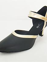 Feminino Latina Pele Real Sandálias Apresentação Fivela Salto Cubano Preto e Dourado 5 - 6,8 cm Personalizável