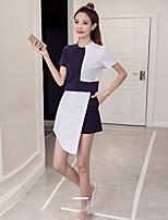 Women's Daily Casual Casual Summer T-shirt Skirt Suits,Patchwork Round Neck Short Sleeve strenchy