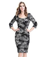 Для женщин Для вечеринок Офис Большие размеры Винтаж Облегающий силуэт Оболочка Платье С принтом,Квадратный вырез До колена Длинный рукав
