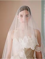 Свадебные вуали Один слой Фата до кончиков пальцев Кружевная кромка Кружева Тюль
