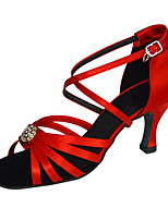 Women's Latin Silk Sandals Performance Criss-Cross Crystals/Rhinestones Stiletto Heel Beige Ruby 3
