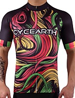 CYCEARTH Cycling Jersey Men's Short Sleeve Bike Jersey Bicycle MTB Sport Shirt Wear Clothing Clothes Quick Dry Breathable 100% Polyester