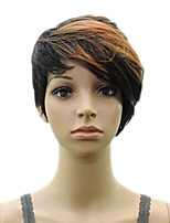 Brown Black Mixed  Woman Layered Curly  Synthetic  Hair Short  Wig