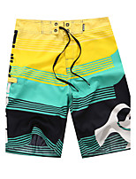 Men's Quick-Drying Breathable Bottoms Prints Beach/Swim Shorts Polyester Summer  Blue/Green/Red