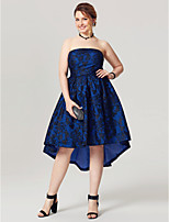 A-Line Strapless Asymmetrical Lace Taffeta Cocktail Party Homecoming Dress with Pleats by TS Couture®