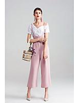 Damen Solide Sexy Einfach Festtage Ausgehen Lässig/Alltäglich T-shirt,Ein-Schulter Sommer Kurzarm Baumwolle Mittel