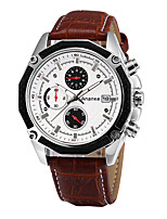Men's Dress Watch Fashion Watch Japanese Quartz Genuine Leather Band Luxury Casual Black Brown
