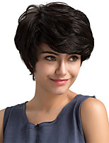Fluffy Stylish Oblique Fringe Short Hair Black Color Human Hair Wigs