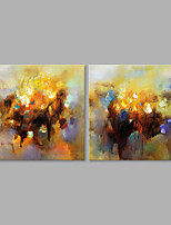 IARTS® Hand Painted Modern Abstract Yellow Brown Color Oil Painting On Canvas Set of 2 with Stretched Frame Wall Art For Home Decoration Ready To Hang