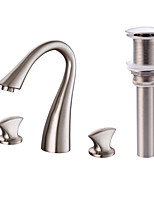 WidespreadBrass Valve Two Handles Three Holes for  Nickel Brushed , Bathroom Sink Faucet