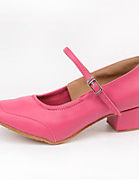 Women's Latin Synthetic Microfiber PU Heels Indoor Buckle Blushing Pink 2