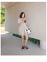 Women's Daily Soak Off Summer T-shirt Pant Suits,Solid Round Neck Short Sleeve