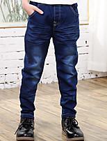 Boys' Stylish And Cool Comfortable Cotton Digital Pocket Splicing  Washing Leisure Denim Trousers