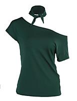 Feminino Camiseta Diário Casual Simples Verão,Estampado Poliéster Decote Redondo Manga Curta Fina
