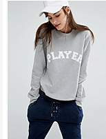 Women's Casual/Daily Sweatshirt Letter Round Neck Micro-elastic Cotton Long Sleeve Fall