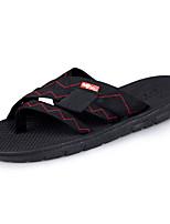 Men's Slippers & Flip-Flops Light Soles PU Spring Fall Casual Lace-up Flat Heel Black Dark Brown Under 1in