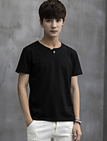 Men's Casual/Daily Work Sports Simple Street chic Punk & Gothic Summer Polo,Solid Stand Short Sleeve Cotton Medium
