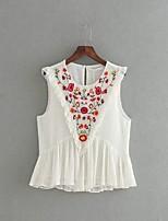 Feminino Blusa Para Noite Casual Trabalho Simples Fofo Moda de Rua Primavera Outono,Bordado Algodão Poliéster Elastano Decote RedondoSem