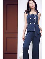Debardeur Pantalon Costumes Femme,Rayé Quotidien Décontracté Sortie Décontracté Actif Chic & Moderne Eté Sans Manches A Bretellesnon