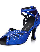 Для женщин Латина Шёлк Сандалии Кроссовки Профессиональный стиль Стразы С пряжкой На толстом каблуке Черный Синий 5 - 6,8 см