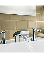 Mediterranean Beach Style Widespread Waterfall with  Ceramic Valve Two Handles Three Holes for  Chrome , Bathtub Faucet
