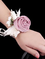 Wedding Flowers Wrist Corsages Wedding Special Occasion Silk Satin Metal 2.36