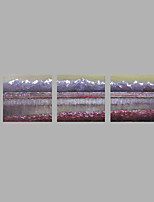 IARTS® Hand Painted Modern Abstract Oil Painting Grey Purple Silver Lining Set of 3 with Stretched Frame Picture For Home Decoration Ready To Hang