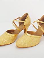 Damen Latin Paillette Sandalen Aufführung Stöckelabsatz Gold 7,5 - 9,5 cm Maßfertigung
