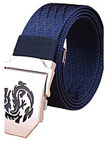 Men's Dragon Pattern Alloy Outdoor Waist Belt Casual/Business Nylon Canvas Belt Black/Khaki/Royal Blue/Army Green