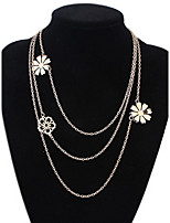 Multilayer Chain Layered Flower Necklaces Vintage  Rock Euramerican OL Women's Jewelry Gifts Daily Party