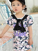 Girl's Camouflage Floral Dress,Cotton Summer Short Sleeve