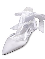 Women's Wedding Shoes Comfort Mary Jane D'Orsay & Two-Piece Spring Summer Satin Wedding Dress Party & Evening Bowknot Lace-up Flat Heel