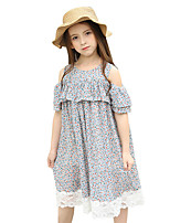 Girl's Floral / Botanical Floral Dress,Cotton Summer Short Sleeve