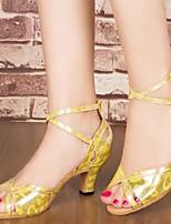 Women's Dance Sneakers PU Sandals Sneakers Indoor Chunky Heel Silver Black Gold 2