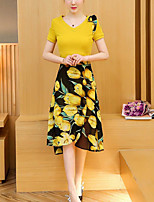 Women's Daily Casual Casual Summer T-shirt Dress Suits,Floral Color Block Round Neck Short Sleeve Micro-elastic
