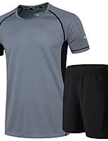 Per uomo Manica corta Corsa Set di vestiti Fitness, Running & Yoga Estate Abbigliamento sportivo Corsa Largo