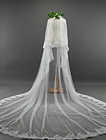 Wedding Veil Two-tier Cathedral Veils Lace Applique Edge Tulle