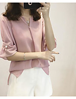 Women's Casual/Daily Simple Summer Blouse,Solid V Neck Half Sleeve Others