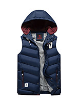 Men's Regular Padded Coat,Simple Daily Casual Solid Striped-Polyester Cotton Sleeveless