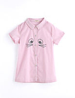 Girls' Solid Color Tee,Cotton Summer Short Sleeve