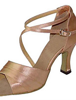 Women's Latin Silk Sandals Performance Criss-Cross Stiletto Heel Blushing Pink 3