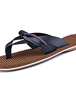 Men's Slippers & Flip-Flops Comfort Light Soles PU Summer Casual Comfort Light Soles Flat Heel Brown Dark Blue White Flat