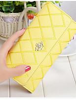 Women Checkbook Wallet Cowhide All Seasons Casual Rectangle Snap Fuchsia Yellow Black