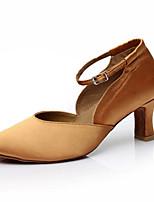 Damen Latin Seide Sandalen Sneakers Professionell Verschlussschnalle Blockabsatz Schwarz Khaki 5 - 6,8 cm Maßfertigung