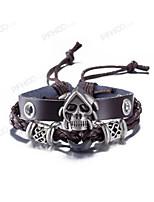 Men's Leather Bracelet Jewelry Vintage Costume Jewelry leather Skull / Skeleton Jewelry For Dailywear