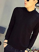 Men's Casual/Daily Simple Sweatshirt Solid Round Neck Inelastic Others Long Sleeve Spring