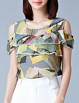 Women's Casual/Daily Simple Summer Blouse,Print Round Neck Short Sleeve Chiffon Medium