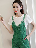 Women's Daily Casual Casual Summer T-shirt Pant Suits,Solid Round Neck Short Sleeve Lace
